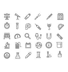 Laboratory equipment line icons vector