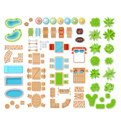 Landscape elements top view vector