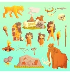 Life stone age primitive man ice age vector