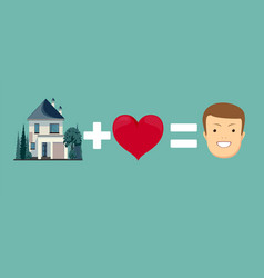 Love and home brings you happiness vector