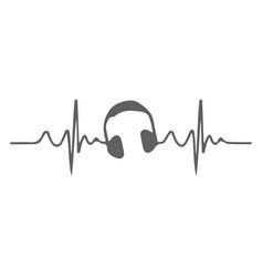 love heart headphones flat icon vector image