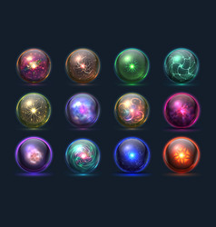 magical crystal orbs glowing magic balls vector image