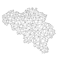 Map of belgium from polygonal black lines vector