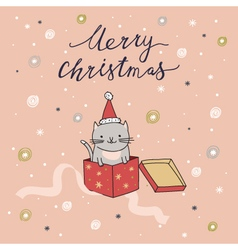 Merry Christmas card with cat vector image