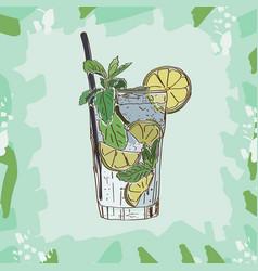 mojito cocktail alcoholic bar drink hand drawn vector image