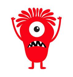 Monster red silhouette cute cartoon kawaii scary vector