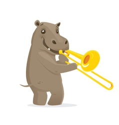 Musical animals Hippo trombone vector