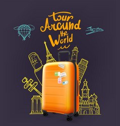 orange modern plastic suitcase with lettering vector image