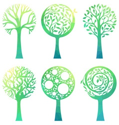 Ornate green trees vector image