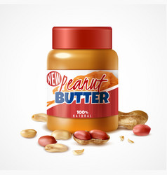 Peanut butter jar composition vector