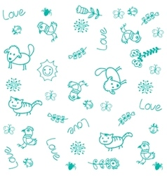 Pet animals doodle art vector image