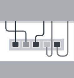 Power strip from five outlets power cords vector