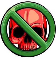Prohibited warning skull icon vector