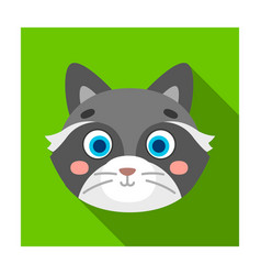 Raccoon muzzle icon in flat style isolated on vector