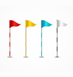 realistic 3d detailed golf flag set vector image
