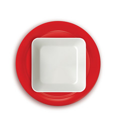 red and white plates vector image