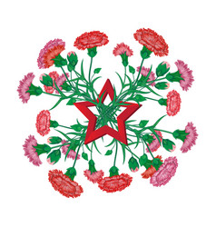 Red carnation bouquet with saint george ribbon vector