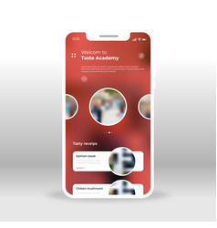 Red taste academy ui ux gui screen for mobile vector