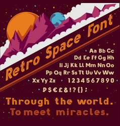 Retro space font vintage cosmic alphabet vector