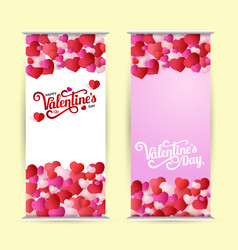roll up with lettering happy valentine s day vector image
