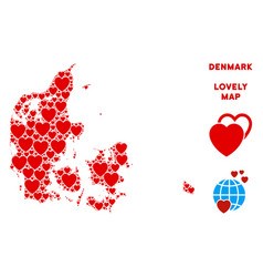 romantic denmark map collage of hearts vector image