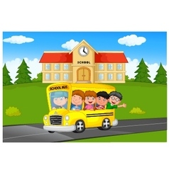 School Kids Riding a School bus vector image