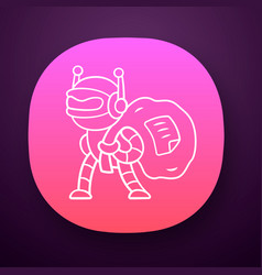 Scraper bot app icon malicious robot content vector