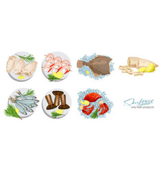 Seafood in cartoon style seafood platter set vector