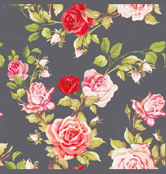 seamless floral pattern with of red roses vector image