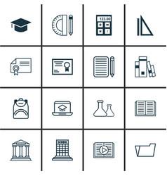 Set 16 school icons includes measurement vector