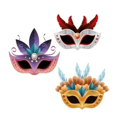 Set beautiful masks carnival bright feathers vector