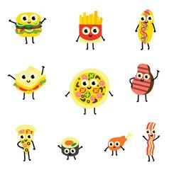set food cartoon characters vector image
