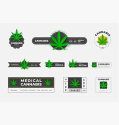 set logos organic hemp sbd and thc on a vector image