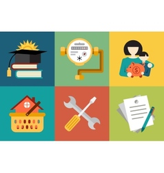 Set modern icons in style flat on social issues vector