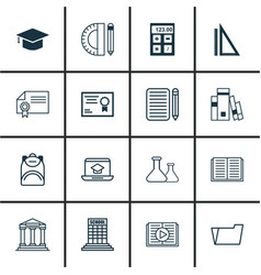 set of 16 school icons includes measurement vector image