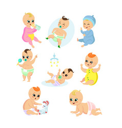 set of adorable baby in vector image