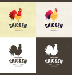 Set of chicken farm meat logo badges banners vector