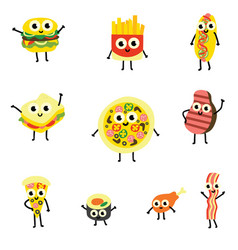 set of food cartoon characters vector image
