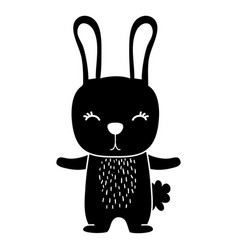 Silhouette cute rabbit wild animal of the forest vector