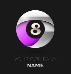 Silver number eight logo in silver-purple circe vector