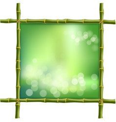 Square green bamboo stems border frame with blur vector