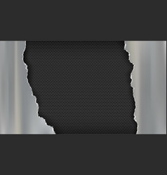 torn metal plate on a steel perforated background vector image