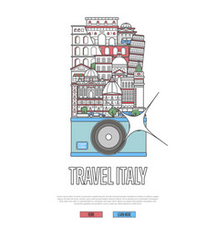 travel italy poster with camera vector image
