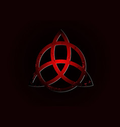 triquetra logo trinity knot wiccan red symbol vector image
