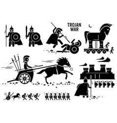 trojan war horse greek rome warrior troy sparta vector image