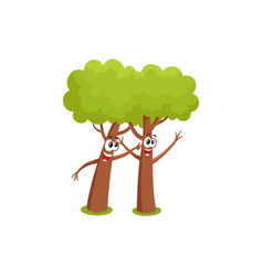 Two funny comic style tree characters playing with vector