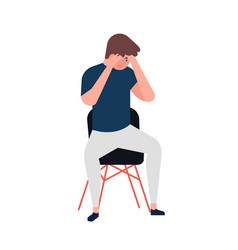 unhappy young man sitting on chair depressed boy vector image