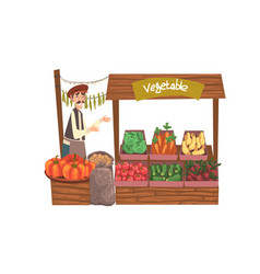 Vegetable local farmer market with fresh natural vector