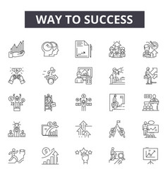 way to success line icons for web and mobile vector image