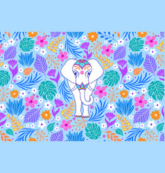 white elephant and tropical flowers vector image